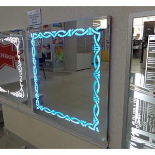Зеркало с подсветкой (9 цветов) + рисунок, 700 х 700 мм.