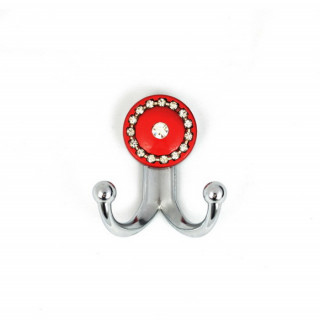 Крючок маленький с камнями хром-красный глянец TASLI BONCUK 13.147-06/039 ПОД ЗАКАЗ