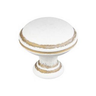 Ручка-кнопка GR49-L44 белая + патиновое золото ПОД ЗАКАЗ