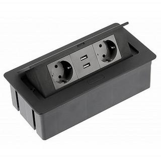 Удлинитель GTV SOFT на 2 розетки SCHUKO 2 USB AE-PBSUC2GS-20N