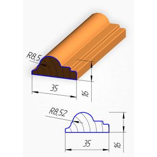 Штапик для фасадов №3 МДФ 2070*35 мм