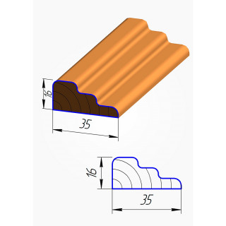 Штапик для фасадов №6 МДФ 2070*35 мм