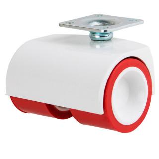 Ролик пластик. двойной D40 мм с площадкой, красный. нагрузка 35 кг (35119) (Под заказ)