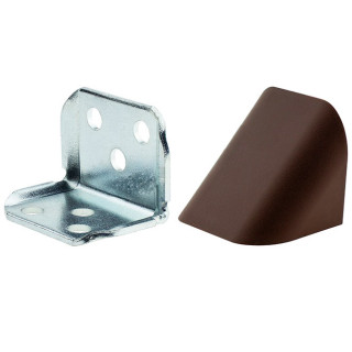Уголок двойной ОРЕХ ТЕМНЫЙ (ВЕНГЕ) металлический с пластиковой крышкой