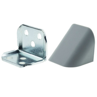 Уголок двойной СЕРЫЙ металлический с пластиковой крышкой